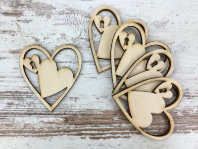 Natúr fa - Kulcsos szív 6cm 5db/csomag