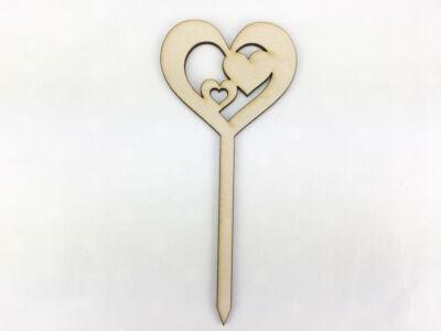 Natúr fa - Beszúrós szív a szívben 14,5cm