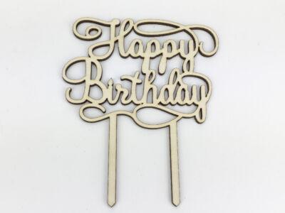 """Natúr fa - """"Happy Birthday"""" torta beszúró 11,5x14,5cm"""