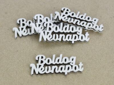 """""""Boldog Névnapot"""" felirat fehér 2,3x5,3cm 5db/csomag"""