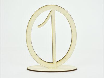 Natúr fa - Asztalszám ovális keretben 1-es 15,5cm