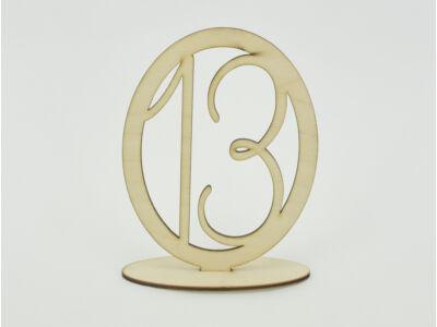 Natúr fa - Asztalszám ovális keretben 13-as 15,5cm