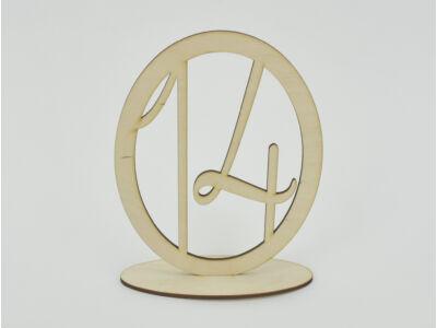 Natúr fa - Asztalszám ovális keretben 14-es 15,5cm