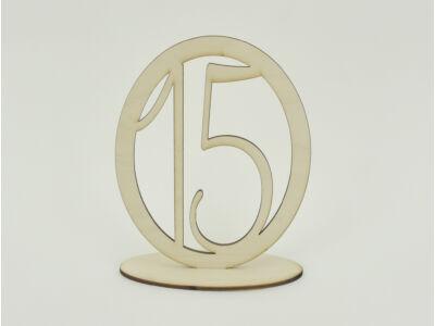 Natúr fa - Asztalszám ovális keretben 15-ös 15,5cm