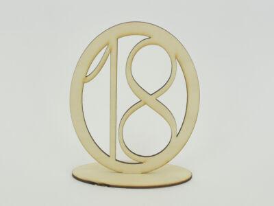 Natúr fa - Asztalszám ovális keretben 18-as 15,5cm