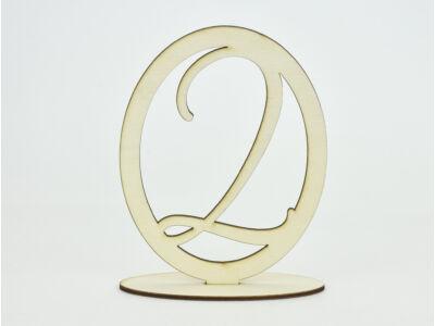 Natúr fa - Asztalszám ovális keretben 2-es 15,5cm