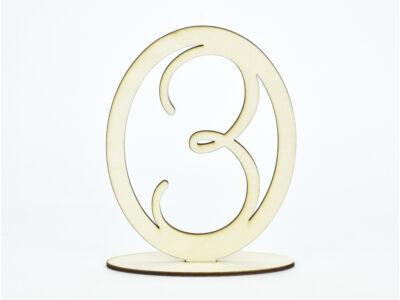 Natúr fa - Asztalszám ovális keretben 3-as 15,5cm