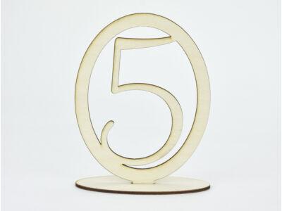 Natúr fa - Asztalszám ovális keretben 5-ös 15,5cm