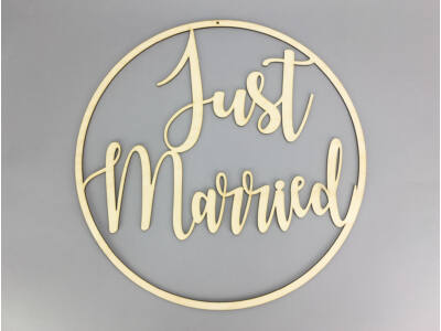 "Natúr fa - ""Just Married"" felirat keretben  40cm"
