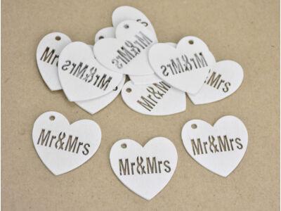 Mr & Mrs fa szív fehér 12db/csomag