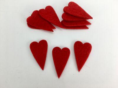 Filc - Hosszú szív 2,3x4cm 10db/csomag